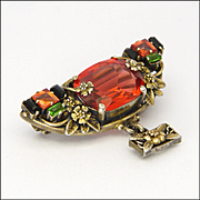 English Arts and Crafts 9K Gold Orange Sapphires and Pastes Pin - Bernard Instone