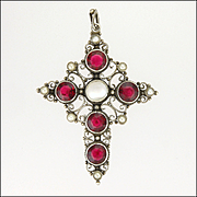English Arts and Crafts Silver Garnet Pastes Moonstone and Pearls Cross Pendant