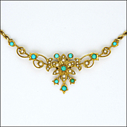 English Edwardian 15K Gold Seed Pearl and Turquoise Necklace