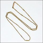 "English Edwardian  9K Gold Elongated Link Necklace - 17 ¾""  - 3.1 grams"