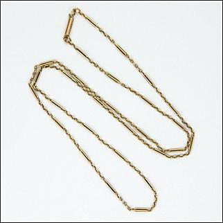 "English Edwardian  9K Gold Elongated Link Necklace - 17 ¾""  - 3.1 grams"
