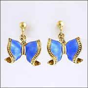 Norwegian Sterling Silver Gilt Enamel Bow Earrings - Screw Backs