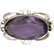 Art Nouveau Sterling Silver Violet Paste Pin