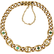 English Edwardian 15K Gold Seed Pearl and Turquoise Bracelet
