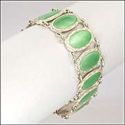 English Art Deco Silver Enamel Bracelet with Sunburst Clasp
