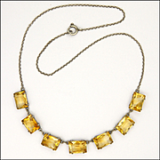 Art Deco European Silver Citrine Gemstone Necklace