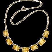 Art Deco European Silver Citrine Gemstone Necklace