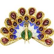 Gold Washed Silver Enamel and Natural Garnets Peacock Brooch