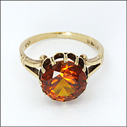English 9K Gold and Burnt Orange Topaz Ring - 1977