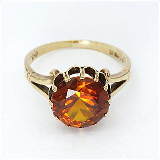 English 9K Gold and Burnt Orange Topaz Ring - 1977