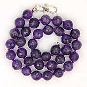 Natural Faceted Amethyst Bead Necklace - Sterling Clasp