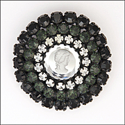 French AGATHA  Mirror Glass with Cameo Feature and Pastes Brooch