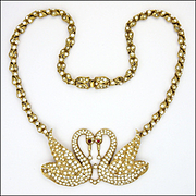 ATTWOOD & SAWYER Sparkling Rhinestone Swan Necklace