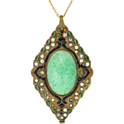 Victorian Costume Pastes with Enamel Pendant and Chain