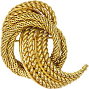 Grossé of Germany 1967 Gold Plated Corded and Knotted Brooch