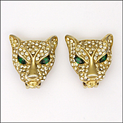 Gold Plated Rhinestone Encrusted Leopard's Head Clip Back Earrings