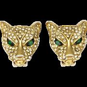 Gold Plated Rhinestone Encrusted Leopard's Head Clip Back Earrings