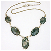 Large Moss Agate Ovals on Sterling Silver Necklace