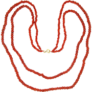 Art Deco Natural Coral and Gold Filled Fittings Necklace