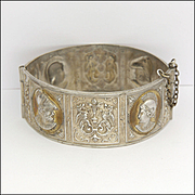 Antique Italian Silver Bangle with Roman Gods and Florentine Fleur de Lis