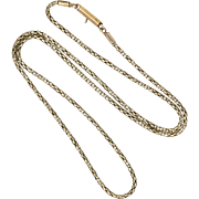 """Victorian 9K Gold Fluid Chain Necklace with Cylindrical Clasp - 18"""" - 4.4 grams"""