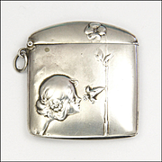 Art Nouveau 800 Silver Lady  and Flower Match Safe or Vesta