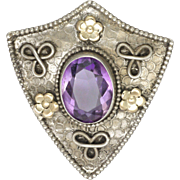 Arts and Crafts Silver Amethyst Gold Flowers Shield Pin