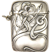 Art Nouveau 800 Silver Iris Vesta or Match Safe - French Import Marks