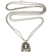 Victorian French Silver Bead Guard Chain with Dutch Silver Fob Necklace