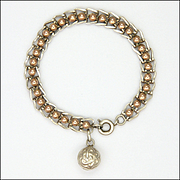 French Victorian Silver and Rose Gold Overlay Bracelet with Charm