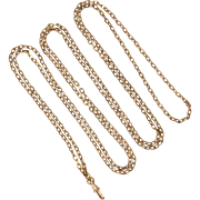 "French Victorian Rose Gold Filled Long Guard Chain - SAVARD of Paris - 56"" long"