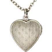 French Antique Small Silver Heart Locket with 950 Siilver Chain.