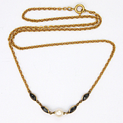 18K Gold,  Sapphire and Pearl Necklace