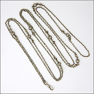 French Victorian Silver Long Guard Chain with Engraved Balls and Cubes