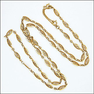 French Antique Gold Filled Opera Length Necklace