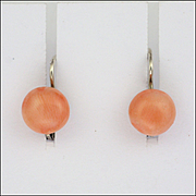 French Art Deco Coral and Silver Lever arch Earrings for  Pierced Ears