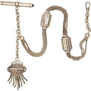 French Victorian Silver Watch Chain and Tassel with Horse and Jockey Motif