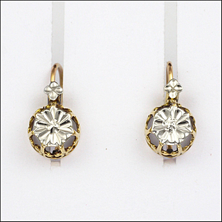 French 18K White and Yellow Gold Lever Back Earrings for Pierced Ears