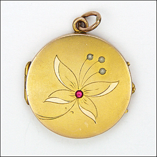 French Circa 1910 Gold Filled Flower Locket with Pearls and Paste