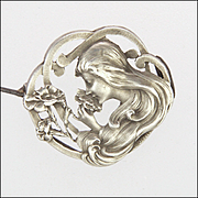 French Art Nouveau Silver Lady and Carnation Pin - E DROPSY