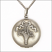 French Antique Silver Basket of Flowers Locket and Chain Necklace