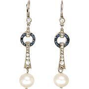 Art Deco 935 Silver Pastes, Gemstones and Pearl Drop Earrings