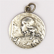 French Circa 1900  Joan of Arc Silver Pendant - L O Mottei