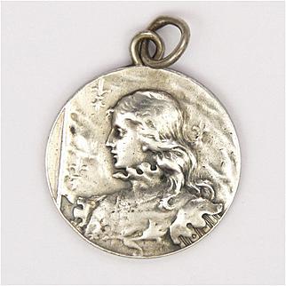 French Circa 1900  Joan of Arc Silver Pendant - L O Mottei