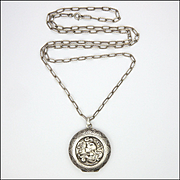 European Art Nouveau Lady Silver Locket and Chain
