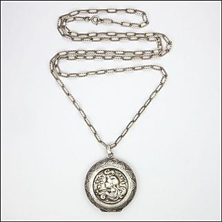 European Art Nouveau Lady Silver Locket and Chain