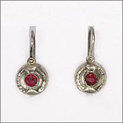 European Circa 1900 800 Silver Paste Lever Back Earrings