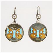 English 1976 Sterling Silver Enamel Butterfly Earrings - Pierced Ears