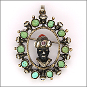 Austro-Hungarian Antique Blackamoor Silver and Turquoise Pendant/Pin