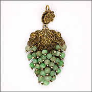 Art Deco Chinese Sterling Silver and Jade Bunch of Grapes Pendant